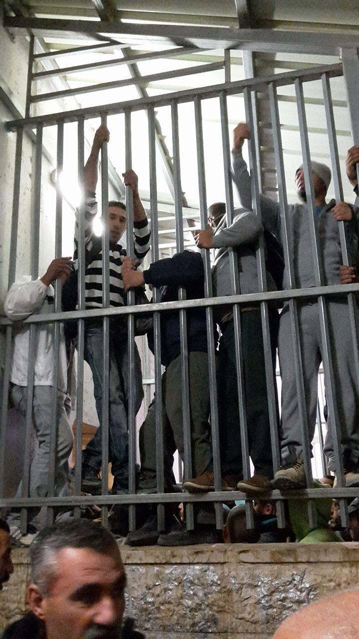 Junge Männer versuchen, einen vorderen Platz in der Warteschlange zu ergattern