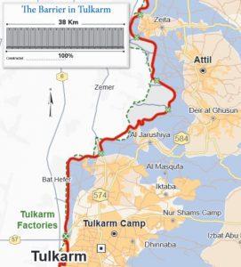 """Der Verlauf der Trennbarriere nördlich von Tulkarem. Die """"agricultural gates"""" sind mit grünen Kreuzen markiert. Karte © UNOCHA"""