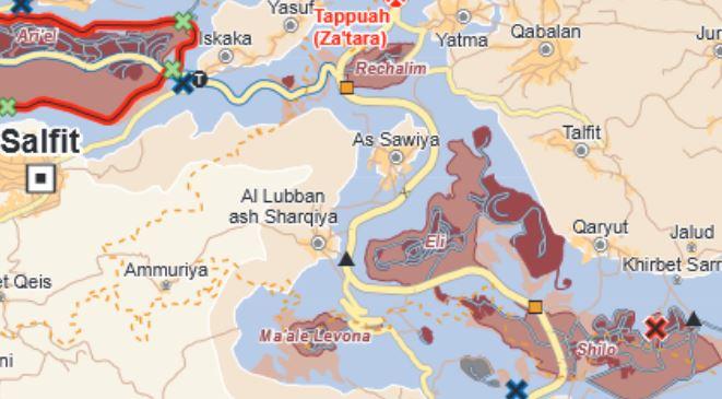Die As-Sawiya Secondary School liegt etwa auf halbem Weg zwischen den Dörfern As Sawiya und All Lubban ash Sharqiya; Karte © UNOCHA