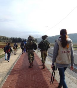 Begleitung nahe der As Sawiya Secondary School; © EAPPI