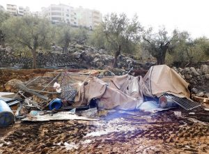 In den Überresten des zerstörten Hühnerstalls sehen wir noch die verendeten Tiere; Foto © EAPPI
