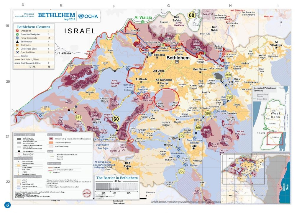 Der Verwaltungsbezirk Bethlehem. In lila und rosa sind die Siedlungen, Außenposten und das Land markiert, welches die Siedlungen nutzen, z.B. für Landwirtschaft. Karte © UNOCHA