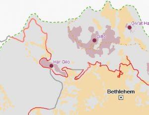 """Im Bereich nördlich von Bethlehem verläuft die Mauer (rote Linie) etwa 3 Kilometer abweichend von der """"Grünen Linie"""" und trennt so einen großen Bereich des Westjordanlands ab, in dem die Siedlungen Har Gilo und Gilo liegen; Kartenausschnitt interaktive Karte UNOCHA-OPT"""