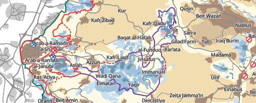 """Die Karte zeigt den sogenannten """"Kedumim-Finger"""", an dessen östlichem Ende Farata und Havat Gilad (Gilad Farm) liegen. ©B'Tselem"""