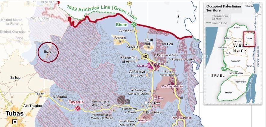 Die Gemeinde Ibziq in der Nähe von Tubas, die grau gepunkteten Flächen sind militärische Sperr- und Übungsgebiete; Karte ©UNOCHA