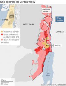 Kontrolle über das Jordantal; Quelle: https://www.bbc.com/news/world-middle-east-24802623