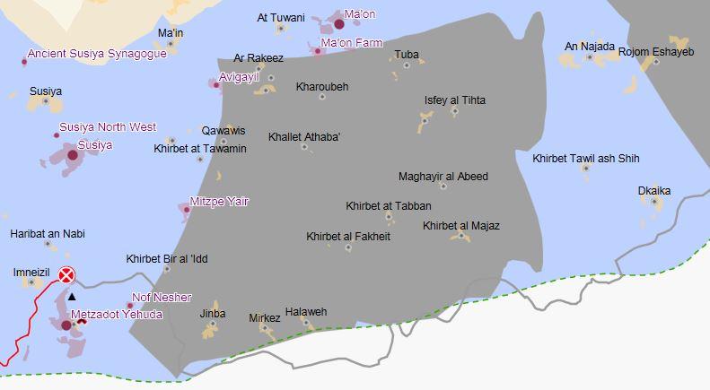 """Khallet Athaba liegt im israelisch kontrollierten C-Gebiet (blau) in der sogenannten """"Firing Zone 918"""" (graue Fläche); aus: www.ochaopt.org Interaktive Karte"""