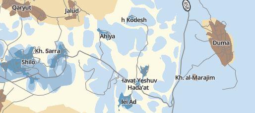 Das kleine Dorf Khirbet al-Marajim liegt zwischen dem palästinensischen Ort Duma und der israelischen Siedlung Shilo mit ihren zahlreichen Nachbarschaften und Außenposten, mitten in der nördlichen Westbank; ©Karte B'Tselem