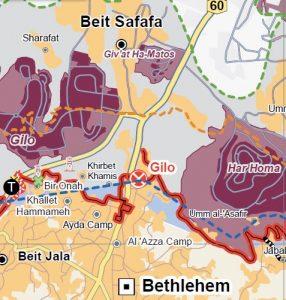 Checkpoint 300, auch Gilo Checkpoint – benannt nach der benachbarten jüdischen Siedlung, trennt Bethlehem von Ost-Jerusalem. Der Checkpoint befindet sich auf der 1967 von Israel unilateral erweiterten Verwaltungsgrenze Jerusalems, etwa zwei Kilometer entfernt von der Grünen Linie. Karte ©UNOCHA-OPT