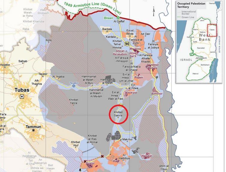 Khirbet Samra liegt, umgeben von Siedlungen (lila, orange) und militärischem Sperr- und Übungsgebiet (grau) im C-Gebiet des nördlichen Jordantals. Karte ©UNOCHA