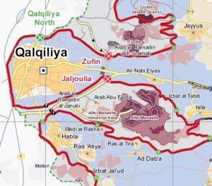 """Kartenausschnitt © UNOCHA; die beiden Beduinengemeinden liegen westlich der Siedlung Alfei Menashe in einer Art """"Tasche"""" der Trennbarriere"""