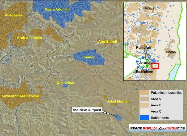 © Peace Now. Die Lage des neu errichteten Außenpostens östlich von Jerusalem