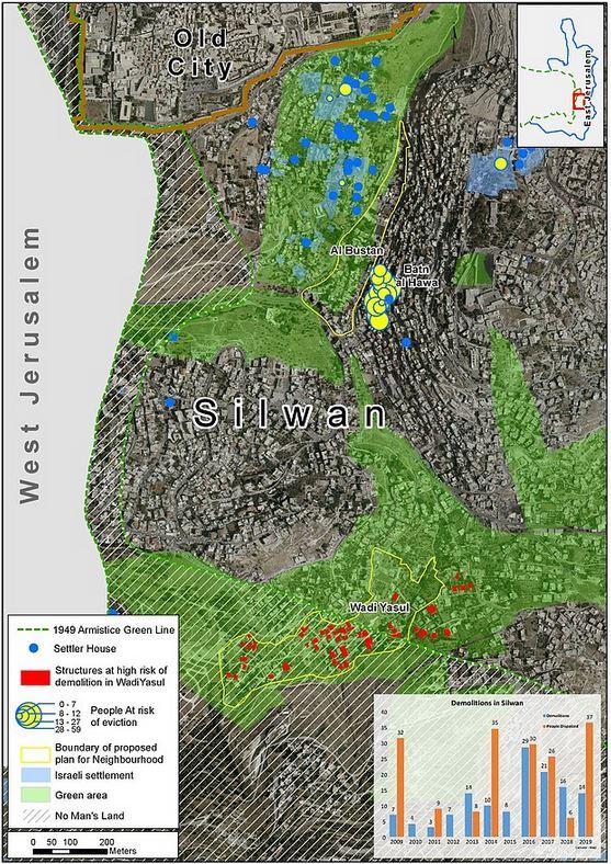 """Karte @ UNOCHA-OPT. Silwan liegt südlich der Altstadt von Jerusalem. Grün markiert sind die als """"green arae"""" ausgezeichneten Teile der Gemeinde, die blauen Punkte stehen für Häuser, die von Siedlerorganisationen übernommen wurden. Rot markiert sind die Häuser im Wadi Yasul, die aktuell von Zerstäörung bedroht sind.Die Häuser mit Zerstörungsanordnungen in die übrigen Teilen Silwans sind in dieser Karte nicht eingezeichnet."""