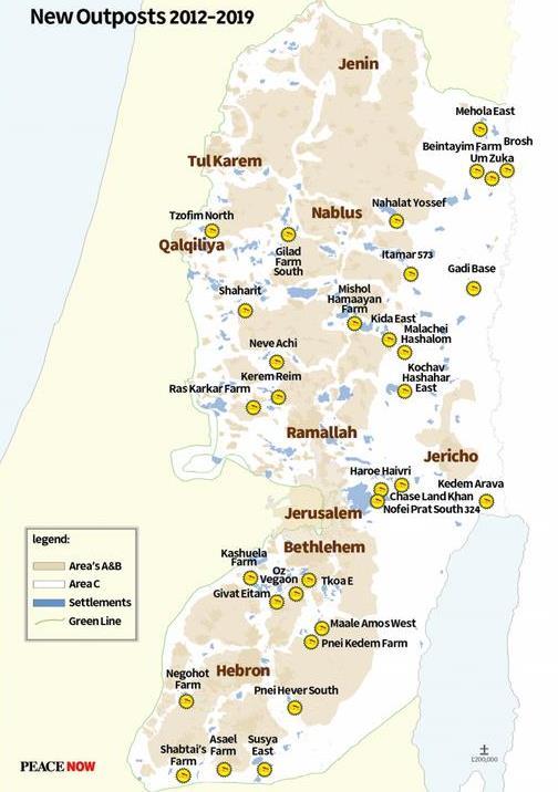 Karte neuer Außenposten © Peace Now