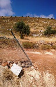 Durchtrennter und ausgewickelter Zaun am Rand des Feldes. Foto © EAPPI