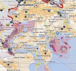 Der Ort Tuqu' liegt südlich von Bethlehem; Karte © UNOCHA-OPT