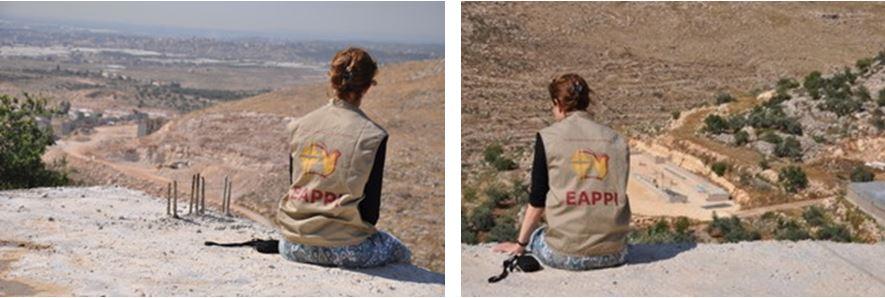 Blick von Shufa: links der Ausbau der israelischen Siedlung Avne Hefez, recht (im Tal) der Bau des Tierstalls am Rande des palästinensischen Dorfes; © EAPPI