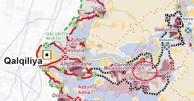 Der rote Kreis auf der Karte von UNOCHA markiert Wadi Qana.