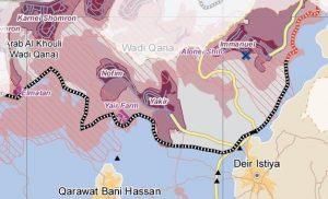 Die gestrichelten Linien markieren das Natur-reservat; israelischen Siedlungen wurden gebaut, während palästinensische Landbesitzer keinen Anspruch auf Baugenehmigungen haben; Karte ©UNOCHA