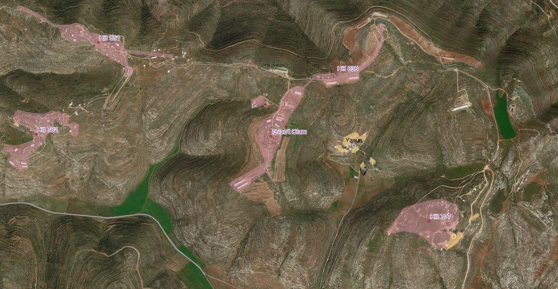 Yanoun ist seit Ende der 90er Jahre umgeben von stetig wachsenden Außenposten der Siedlung Itamar. Nach internationalem und auch noch israelischem Recht gelten solche Siedlungsaußenposten als illegal © EAPPI