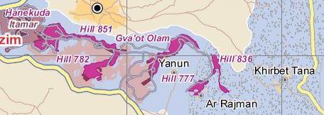 Yanoun ist umgeben von Außenposten der weiter entfernt liegenden Siedlung Itamar; Karte © UNOCHA