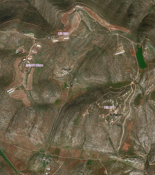 Yanoun (Yanun) und die umliegenden Außenposten; © UNOCHA-OPT Interactive Map