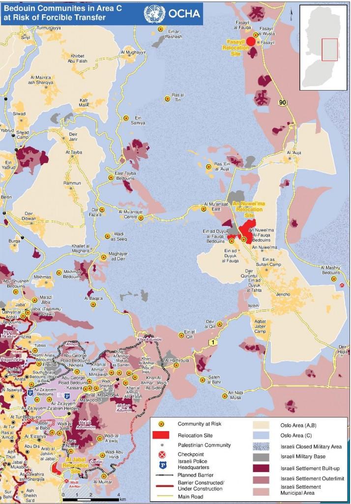 UNOCHA: Karte der von den Umsiedlungsplänen betroffenen Gemeinden
