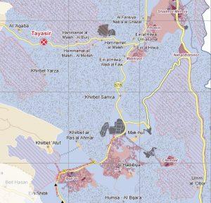 Khirbet Samra ist umgeben von militärischem Sperrgebiet (schwarz gepunktet), Siedlungen (lila Flächen) und Naturreservaten (lila gestrichelt); Karte ©UNOCHA